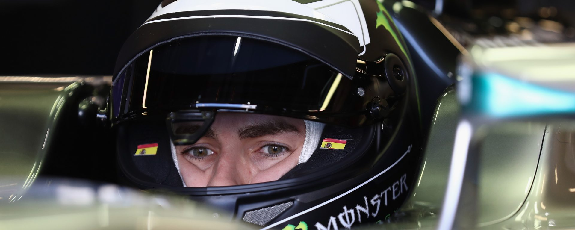 NORTHAMPTON, ENGLAND - OCTOBER 06:  Reigning MotoGP World Champion Jorge Lorenzo of Spain tests a Mercedes F1 car at Silverstone on October 6, 2016 in Northampton, England.  (Photo by Bryn Lennon/Getty Images for Monster)