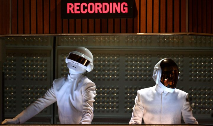 LOS ANGELES, CA - JANUARY 26:  Daft Punk performs onstage during the 56th GRAMMY Awards at Staples Center on January 26, 2014 in Los Angeles, California.  (Photo by Kevin Winter/WireImage)